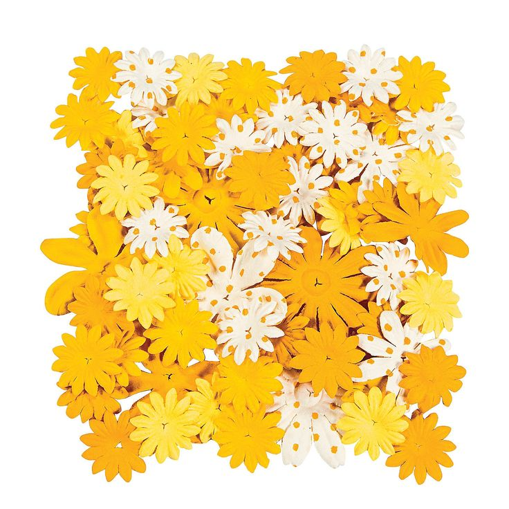 60+Monochromatic+Yellow+Paper+Flowers+-+OrientalTrading.com