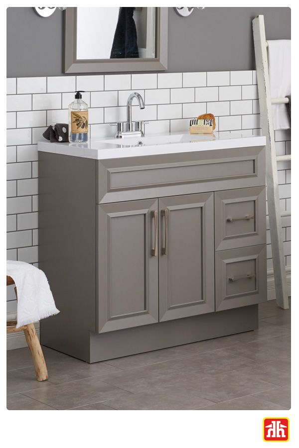 Make a design statement with this fossil grey vanity with brushed aluminium decorative handles.