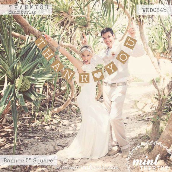 THANK YOU Banner Photobooth Prop  Wedding Decor by door MintImprint