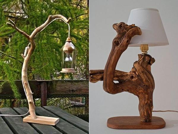 Настольные лампы из дерева. Фото с сайта ru.pinterest.com/