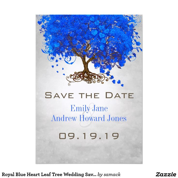 Royal Blue Heart Leaf Tree Wedding Save the Date 5x7 Paper Invitation Card