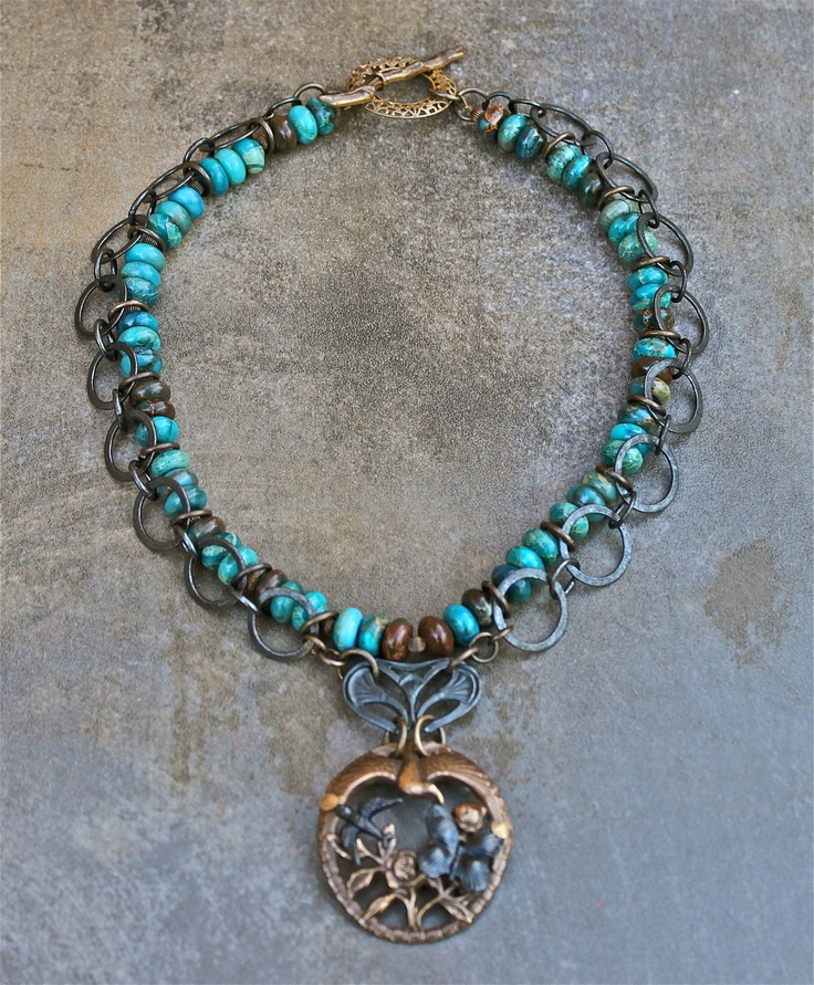 Jewelry Affaire - Among Nature - One Fell Swoop Blue Chain Necklace. $49.99, via Etsy.