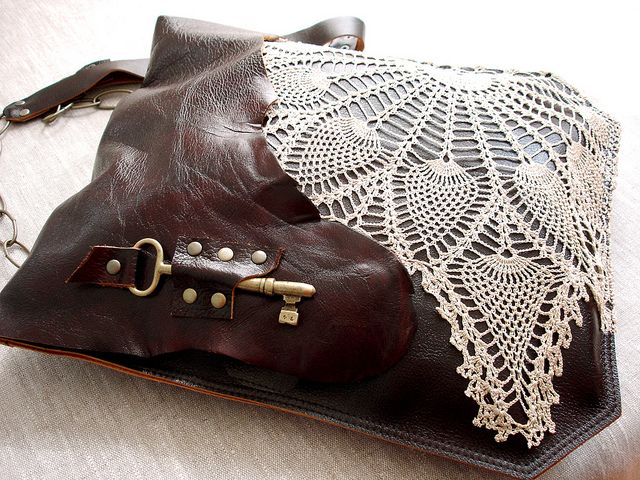 XL Leather Festival Bag w/Vintage Lace & Antique Key : Charlotte's Web by UrbanHeirlooms, via Flickr