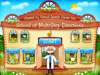 Direction Following!! Here's a review of a great new multi-step direction following app from Virtual Speech Center, called School of Multi-Step Directions!