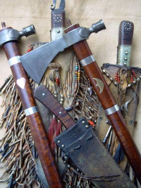 leatherworker, & maker of frontier & IndianHistory, Weapons Westerns, Indian Tools, American Indian, American Native, Guns Blades Armors, Axe Tomahawk, Hatchet, Native American