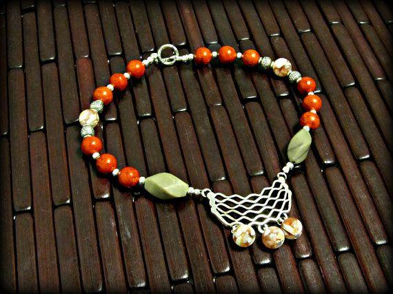 Con cuentas de arranque pulsera w perlas de coral rojo y RomanticThoughts POR