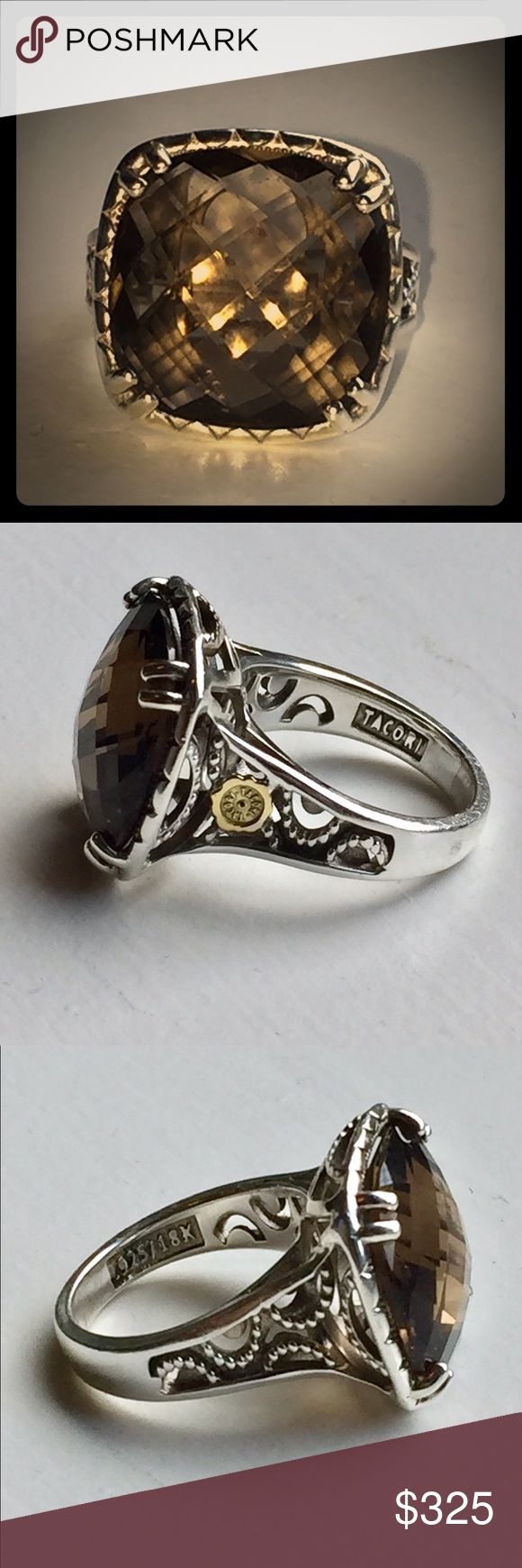 Tacori Smokey Topaz EUC -Feminine, elegant and classy! Tacori Smokey Topaz Ring. Size 7.5. Please review the Tacori website before offering. Serious inquiries only!  This is my personal Ring, nothing is wrong with it. I have many Tacori pieces and don't wear this one often. ❌Bundles, trades or low balling. Retails $598 Tacori Jewelry Rings