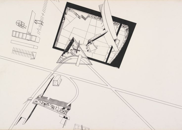 Zaha Hadid's competition entry for the Residence for the Irish Prime Minister, Dublin, 1980