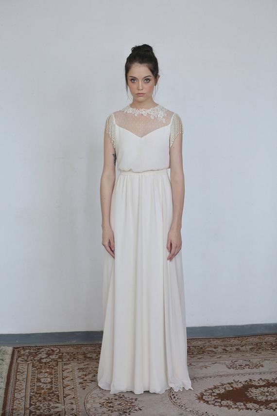 Wedding Dresses Vintage Modest Illusion Lace Dress Etsy