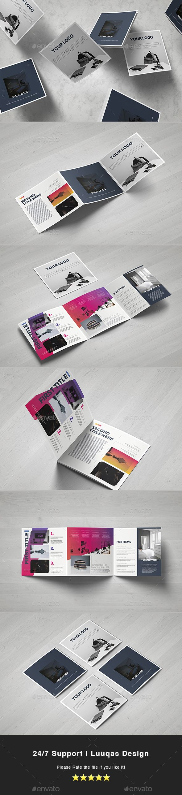 Gradient Square Trifold Brochure Template Vector EPS