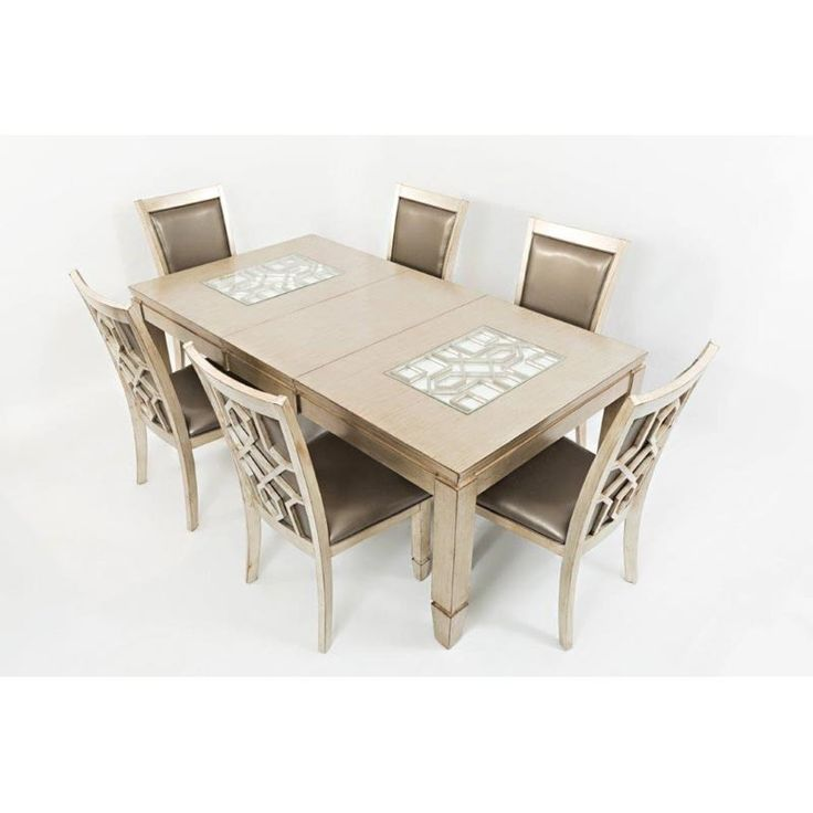 Casa Bella Vintage Silver 7 Piece Formal Dining Set