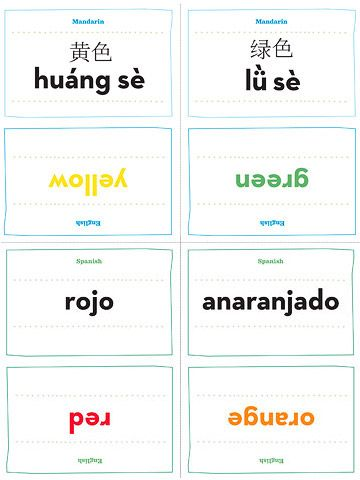 Download and print our free Spanish and Mandarin Chinese number and color flash cards to give your child a head start on learning a foreign language.