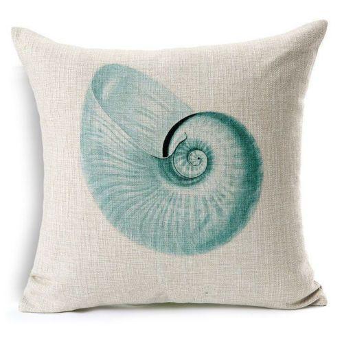 Teal Nautilus Seashell Seashore Pillow Case Zip US Seller ARMOIREJOLIE #Unbranded