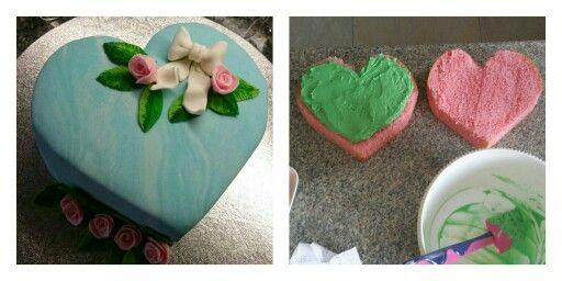 Birthday cake heart shaped with roses