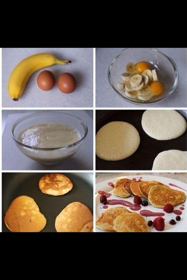 Jahuta pannkoogid.2 muna ja 1 banaan, segad kokku ja saad pannkoogid :)