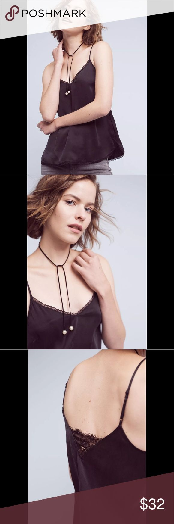 """Anthropologie Everglade Silk Cami Eloise XS NEW Anthropologie Everglade Silk Camisole by Eloise XS NEW Black 🌻Brand New Condition without tags. Feminine to theutmost, Eloise's ribboned-and-lacy designs - from sweet chemises to vintage-inspired underpinnings - are just-for-you must-haves. An Anthropologie exclusive. By Eloise. Silk Adjustable straps Pullover styling Hand wash Style No. 7148370067544 ; Color Code: 001. » Measured Flat; Bust: 16.5"""" Falls approx. (adjustable shoulder straps)24""""…"""