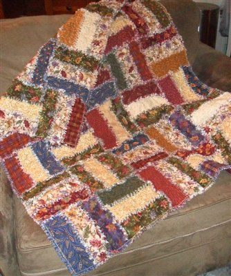 """quick to make with a jelly roll - I like how both sides are pieced so it's """"raggy"""" on both sides!"""