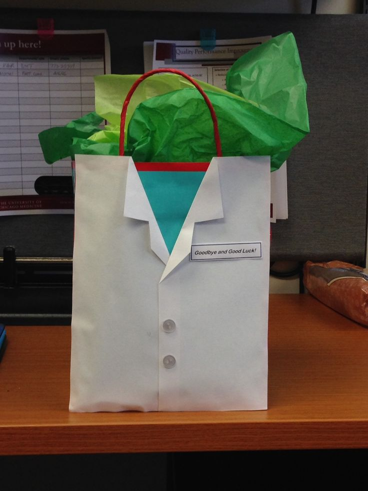 MD doctor or RN white coat gift bag. Can also adapt for a suit for father's day