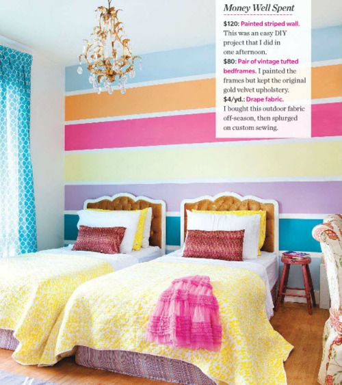 OMG I love this!! bright girls room for a tween or teen but with different headboards for summer house