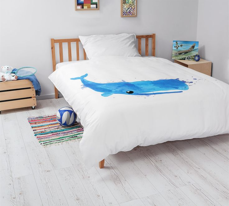Kids bedroom with White Pocket bedding #whale #blue
