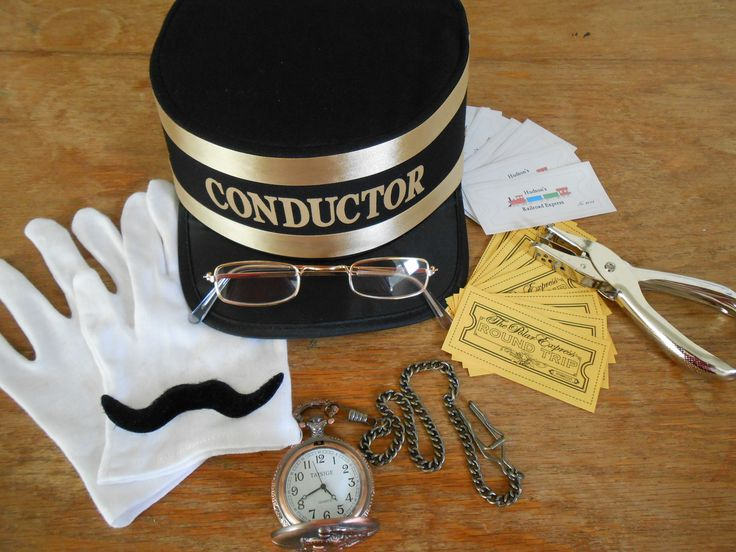 Train Conductor Accessory Set - For Kids & Adults.  Includes hat, real watch, ticket puncher, gloves, glasses, moustache & personalized train tickets.  VISIT OUR WEBSITE TO ORDER TODAY!