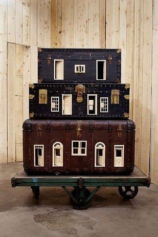 This repurposed suitcase house. | 41 Dollhouses That Will Make Wish You Were A Tiny Doll