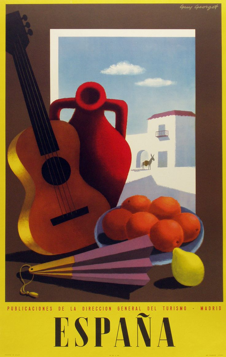 """A Short Biography of Guy Georget -- Georget's first commercial posters appear in the late 1940s. Hired by the tourist boards, the artist produced posters tempting people to visit Spain in which you see the influence of Picasso and Georges Braque."" Shown: Original ""Espana (guitar)"" Poster by Guy Georget, c.1950"
