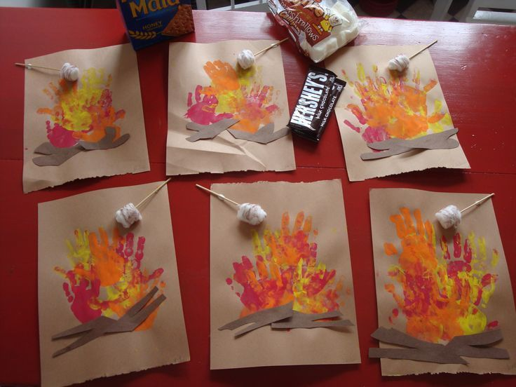 Handprint S'mores - great for camping theme