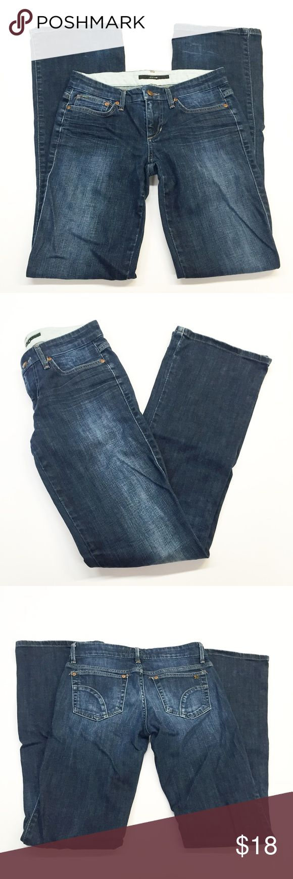 """Joe's Jeans Rocker Boot Leg Jeans Super cute bootcut jeans from Joe's Jeans! Rocker jeans in Thompson wash. Wear on the hemline is shown in photos number 5 through 7. Smoke and pet free home. Measurements taken laid flat. 15"""" waist. 17.5"""" hips. 10"""" thighs. 9"""" leg opening. 33.5"""" inseam. 7.5"""" rise. Joe's Jeans Jeans Boot Cut"""