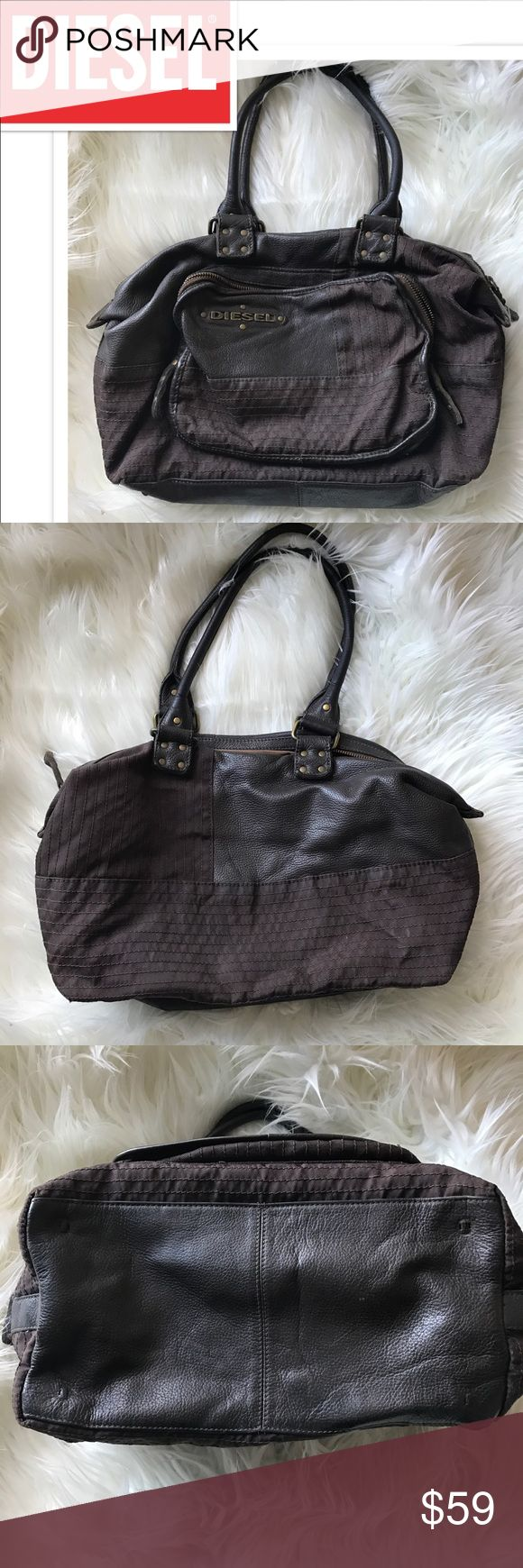 DIESEL Purse Awesome distressed chocolate brown leather and matching textile with brass hardware. EUC. Used to have feet, three came off so I just removed the fourth (shown.) ✨Open to offers ✨ 20% discount on bundles Diesel Bags
