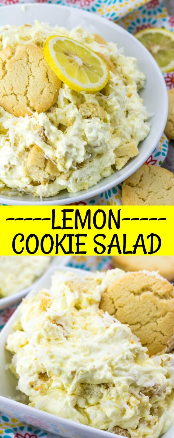 A fluffy and delicious treat this Lemon Cookie Salad is the perfect picnic food, sweet treat or quick dessert that a whips up in a matter of minutes.
