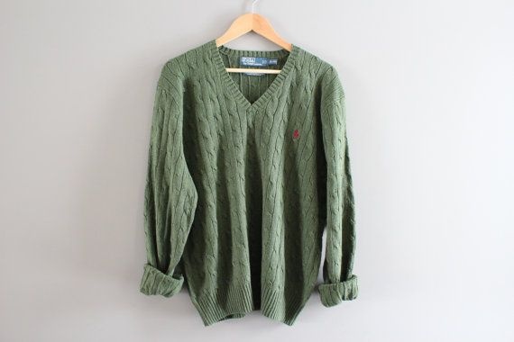 Ralph Lauren Sweater 100% SILK Olive Green Cable Knit by Amilialia