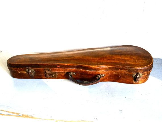 Antique French Fruitwood Violin Case 1920s by LePasseRecompose