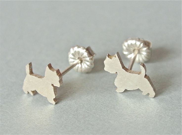 Westie Silver Post Earrings. stud earring. $38.00, via Etsy.    Or any earrings similar to this. Don't spend $38
