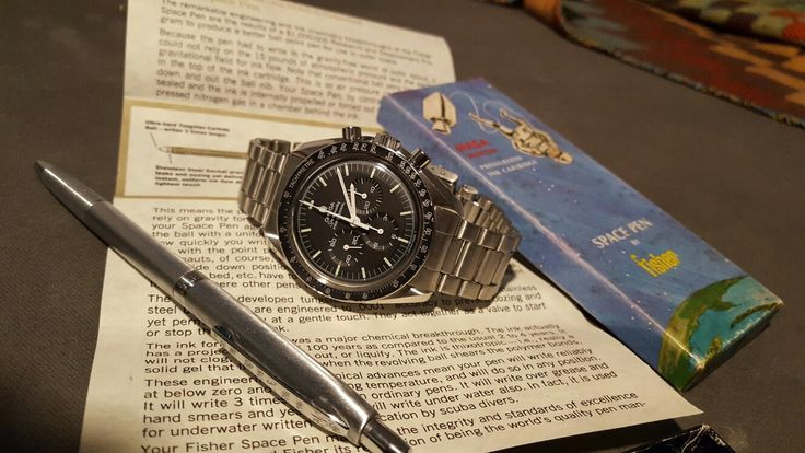 Omega Moonwatch 1974 and vintage Fisher Space Pen with box and certificate
