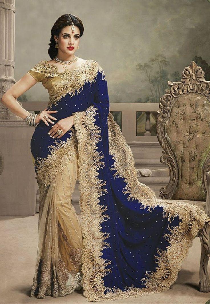 Navy Blue Color Velvet Saree - Rs. 4899.00