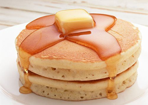 pancakes, butter and honey