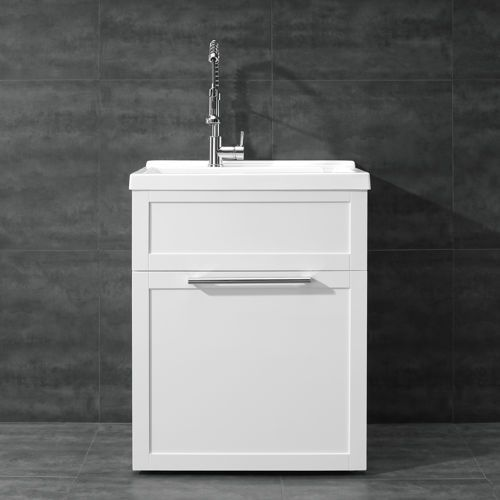White Vanity-style Utility Sink with Faucet by New Waves laundry ...