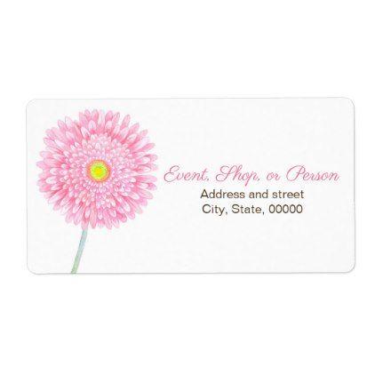 #Pink Gerbera Daisy Flower Shipping Label. Label - #pink #wedding
