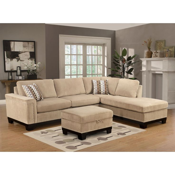 Lyke Home Opal Reversible Taupe (Brown) Sectional (Opal Reversible Taupe Sectional) (Microfiber)