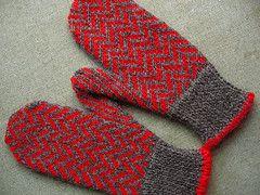 Ravelry: Herringbone Mittens with Poms pattern by Elli Stubenrauch