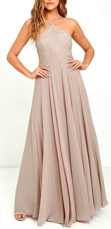 Best of New: Everlasting Enchantment Taupe Maxi Dress