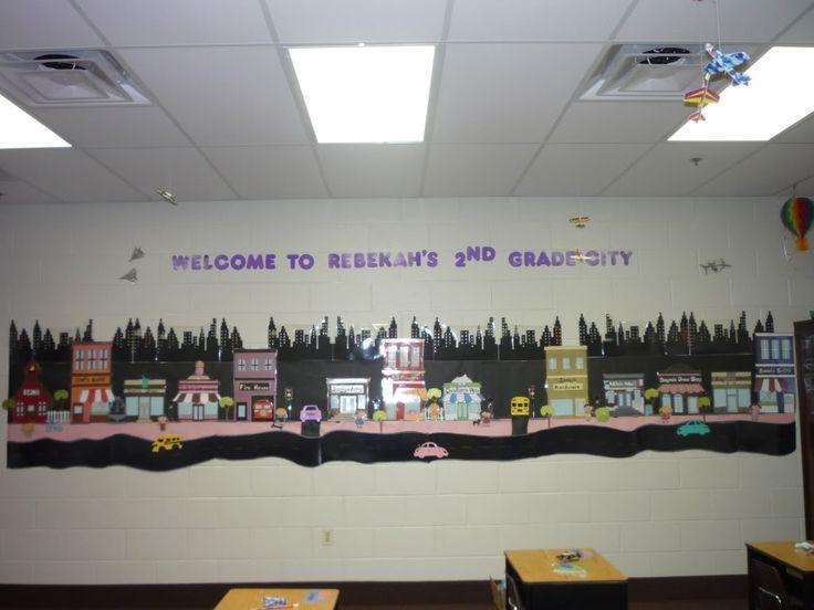 Classroom Decoration Ideas Forums ~ City bulletin boards theme classroom decoration cricut