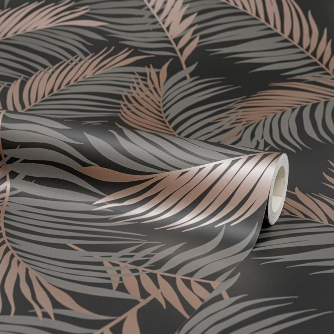Vivienne Feather Wallpaper Charcoal Copper Leaf Wallpaper Copper Wallpaper Feather Wallpaper