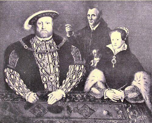 Hans Holbein : Henri VIII Tudor,la princesse Mary sa soeur et le bouffon. - 4° guerre d'Italie: après la défaite de Novare en 1513, au N les Anglais lancent l'offensive à partir de Calais en Picardie, tandis que les Suisses attaquent la Bourgogne. La cavalerie française est battue à la bataille de Guinegatte le 12 aout 1513 face aux Anglais d'Henri VIII. Ce dernier occupe ensuite Thérouanne. Les Suisses mettent le siège devant Dijon.