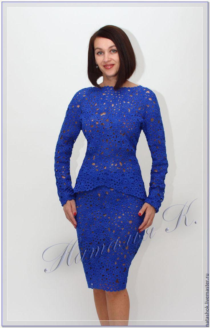 Купить костюм Маринель - синий, васильковый, васильковый цвет, костюм, костюм женский, Костюм вязаный