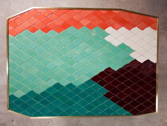 Les couleurs d'India Mahdavi : table Landscape d'India Mahdavi, 2013 (Carwan Gallery) présentée à Design Miami / Basel 2013