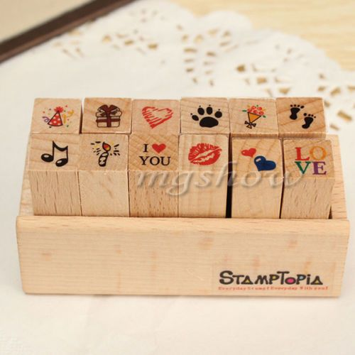 DIY-Wooden-Stamp-Seal-Diary-Pattern-Rubber-Set-Paper-Scrapbook-Box-Craft-12-Pcs