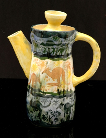 John Perceval Neil Douglas And Arthur Merric Bloomfield Boyd Victoria circa 1947 Waisted cylindrical earthenware coffee pot painted with a vibrant scene showing kangaroos in an outback setting in colours of blue yellow and green