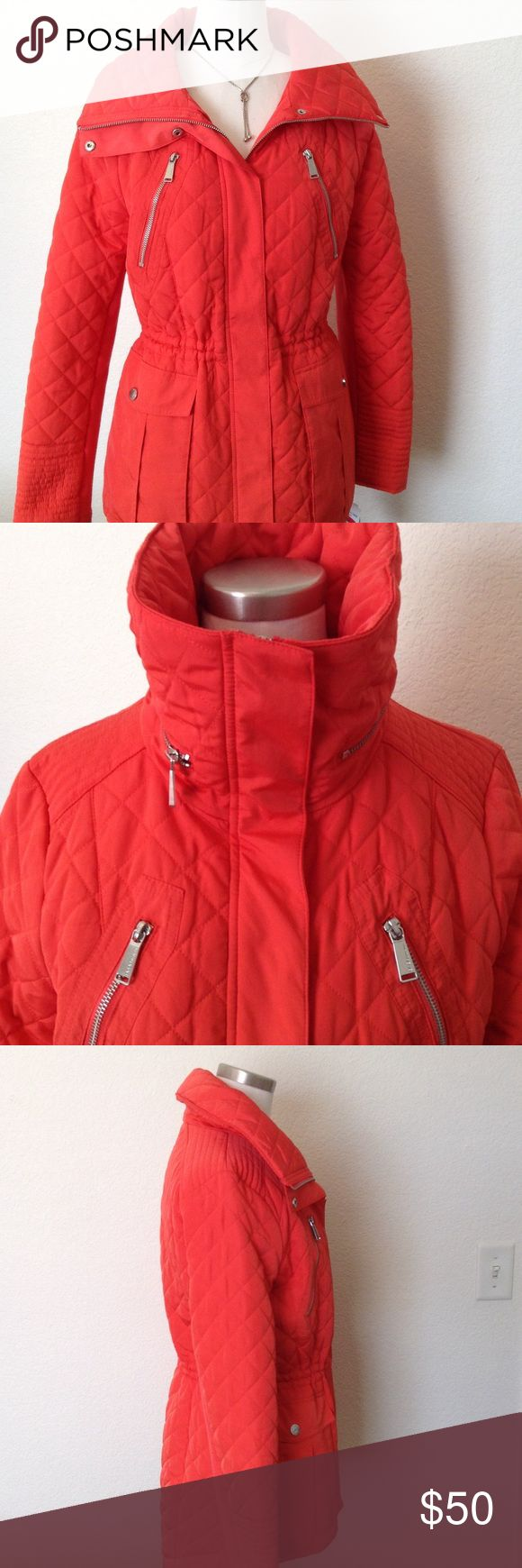 🆕NWT BCBGeneration coral quilted ski jacket ❤️ This is a brand new with tags attached  BCBGeneration coral colored quilted ski jacket with a hidden zippered hood in the collar. Has an adjustable cord to cinch at waist and bottom of jacket to keep the cold air out. Stylish and vibrant color, lots of pockets. Everything you could want in a winter or fall jacket❤️ PRICE IS FIRM UNLESS BUNDLED BCBGeneration Jackets & Coats
